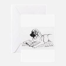 """Leonberger Dog Reading"" Greeting Card"