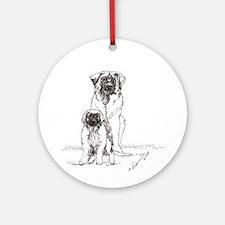 Leonberger Dog Family Ornament (Round)