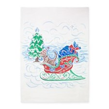 Happy Sleighbell Holidays by M. Nic 5'x7'Area Rug