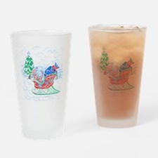 Happy Sleighbell Holidays by M. Nic Drinking Glass