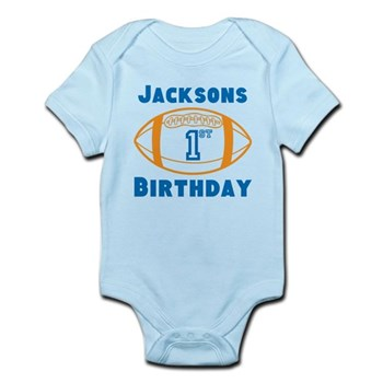 Personalized Football First Bi Baby Light Bodysuit T Shirt 1 Year Old Birthday