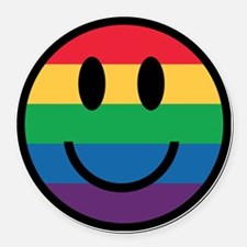 Rainbow Smiley Face Round Car Magnet