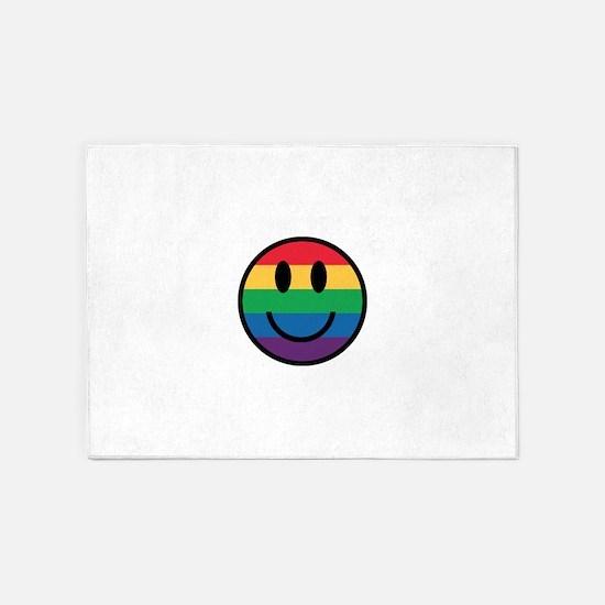 Rainbow Smiley Face 5'x7'Area Rug