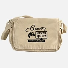 Gamers Never Quit Funny Quote Messenger Bag