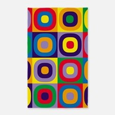 Squares and Circles Abstract Area Rug