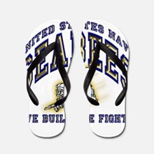 US Navy Seabees Blue and Gold.png Flip Flops
