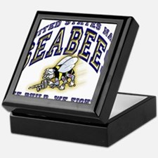 US Navy Seabees Blue and Gold.png Keepsake Box