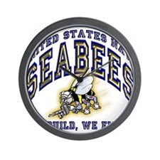 US Navy Seabees Blue and Gold.png Wall Clock