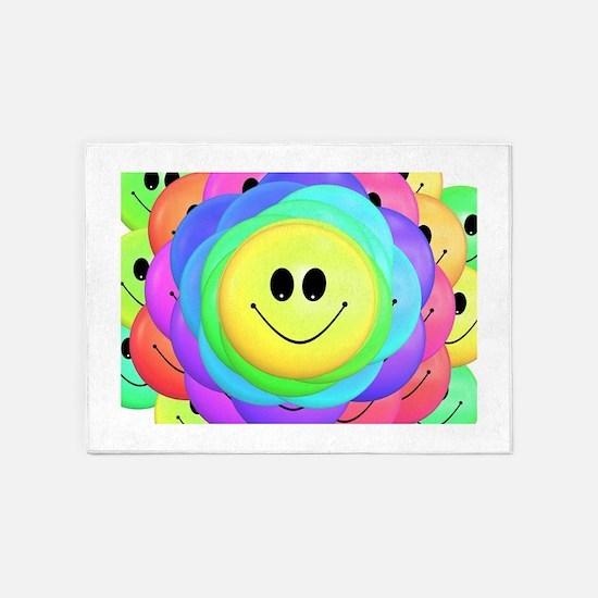 Smiley Face Rainbow Pattern 5'x7'Area Rug