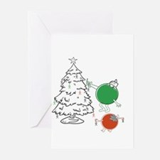 Christmas Balls Hanging People Greeting Cards