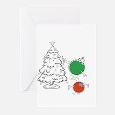 Christmas Balls Hanging People Greeting Cards