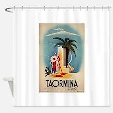 Vinatge Taormina Tourism Poster Shower Curtain