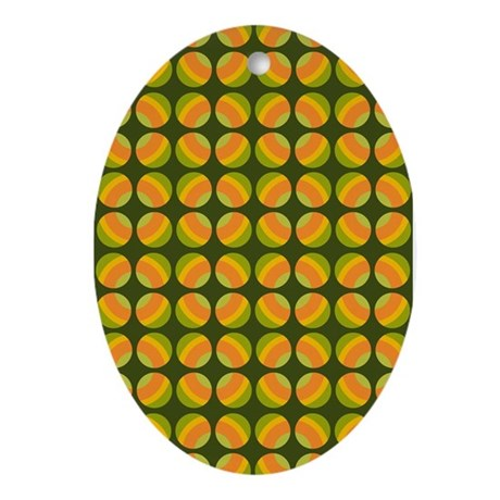 Mod Polka Dot Retro Oval Ornament