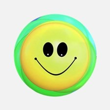 Smiley Face Rainbow Pattern Button