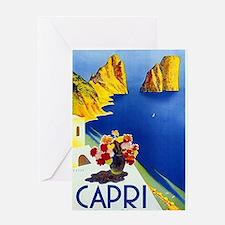 Vinatge Capri Tourism Poster Greeting Cards