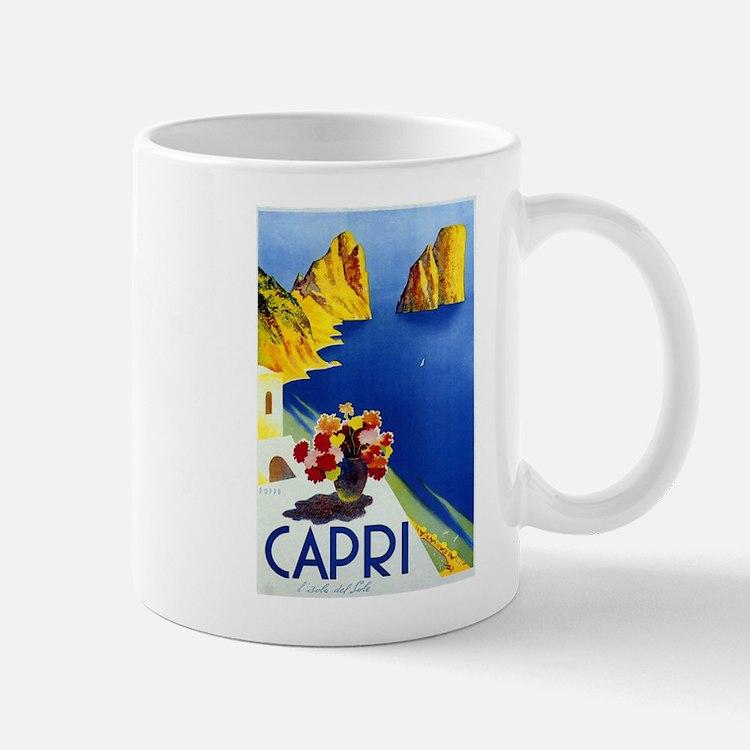 Vinatge Capri Tourism Poster Mugs