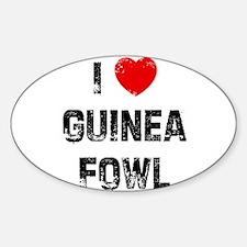 I * Guinea Fowl Oval Decal