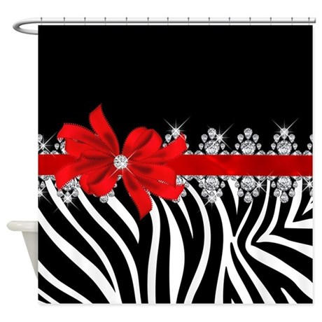 Zebra Red Shower Curtain By ItsABlingThing