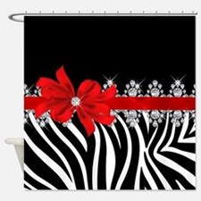 Zebra (red) Shower Curtain