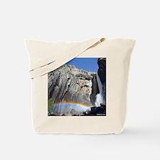 Yosemite Falls rainbow, from bridge Tote Bag
