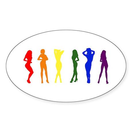 Rainbow of Women Oval Sticker