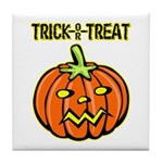 Trick or Treat Halloween Pumpkin Tile Coaster