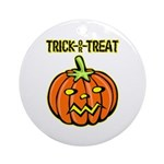 Trick or Treat Halloween Pumpkin Ornament (Round)
