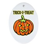 Trick or Treat Halloween Pumpkin Oval Ornament