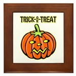 Trick or Treat Halloween Pumpkin Framed Tile