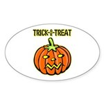 Trick or Treat Halloween Pumpkin Oval Sticker