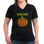 Trick or Treat Halloween Pumpkin Women's V-Neck Da