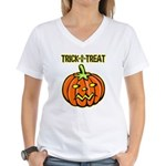 Trick or Treat Halloween Pumpkin Women's V-Neck T-