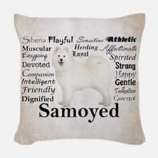 Samoyed Traits Woven Throw Pillow