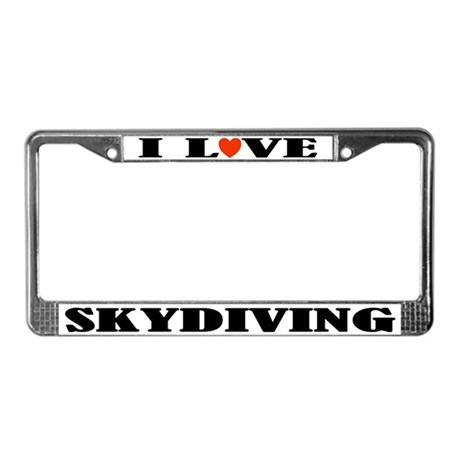 I Love Skydiving License Plate Frame