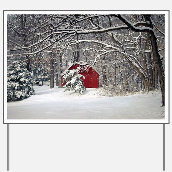 Red Barn in the Snow 2011 Yard Sign