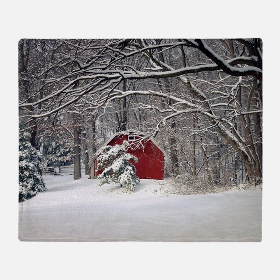 Red Barn in the Snow 2011 Throw Blanket