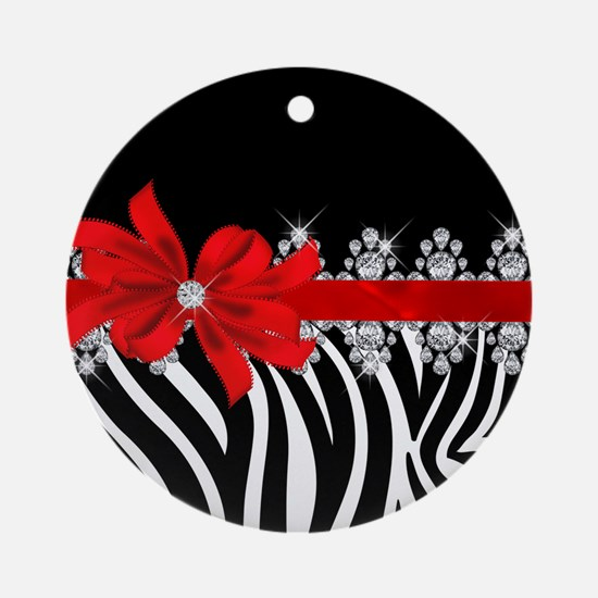 Zebra (red) Round Ornament