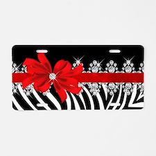 Zebra (red) Aluminum License Plate