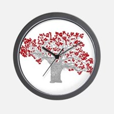 Red Heart Tree Wall Clock