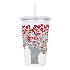 Red Heart Tree Acrylic Double-wall Tumbler