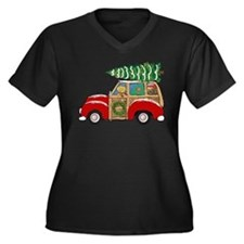 Vintage Christmas Woody Wagon Plus Size T-Shirt