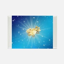 Group of small cute ducks on a blue sky wi Magnets