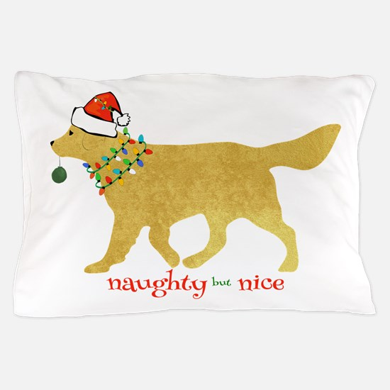 Naughty Christmas Golden Retriever Pillow Case