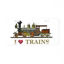 I Love Trains Aluminum License Plate