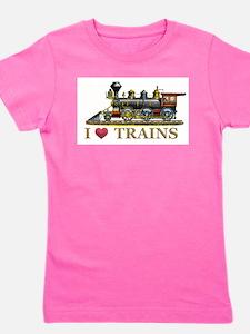 I Love Trains Girl's Tee