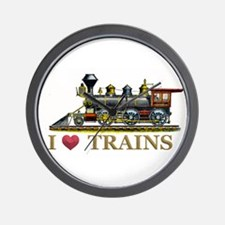 I Love Trains Wall Clock