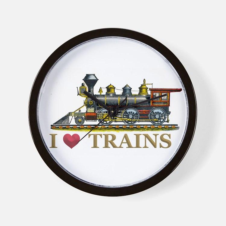 I Love Trains Wall Clock