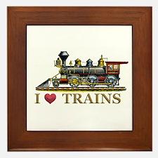 I Love Trains Framed Tile
