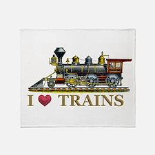I Love Trains Throw Blanket