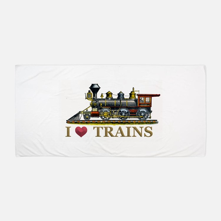 I Love Trains Beach Towel